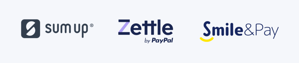 logos SumUp, Zettle, Smile and Pay