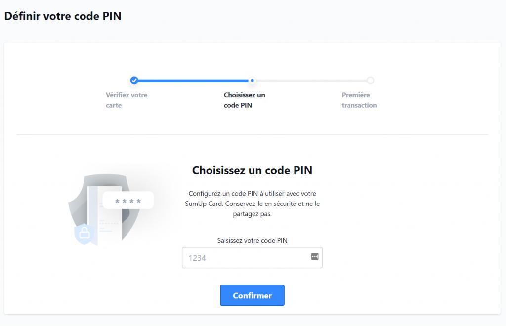 choix code pin carte SumUp
