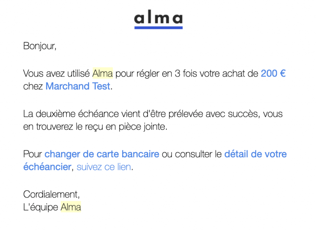 email règlement alma