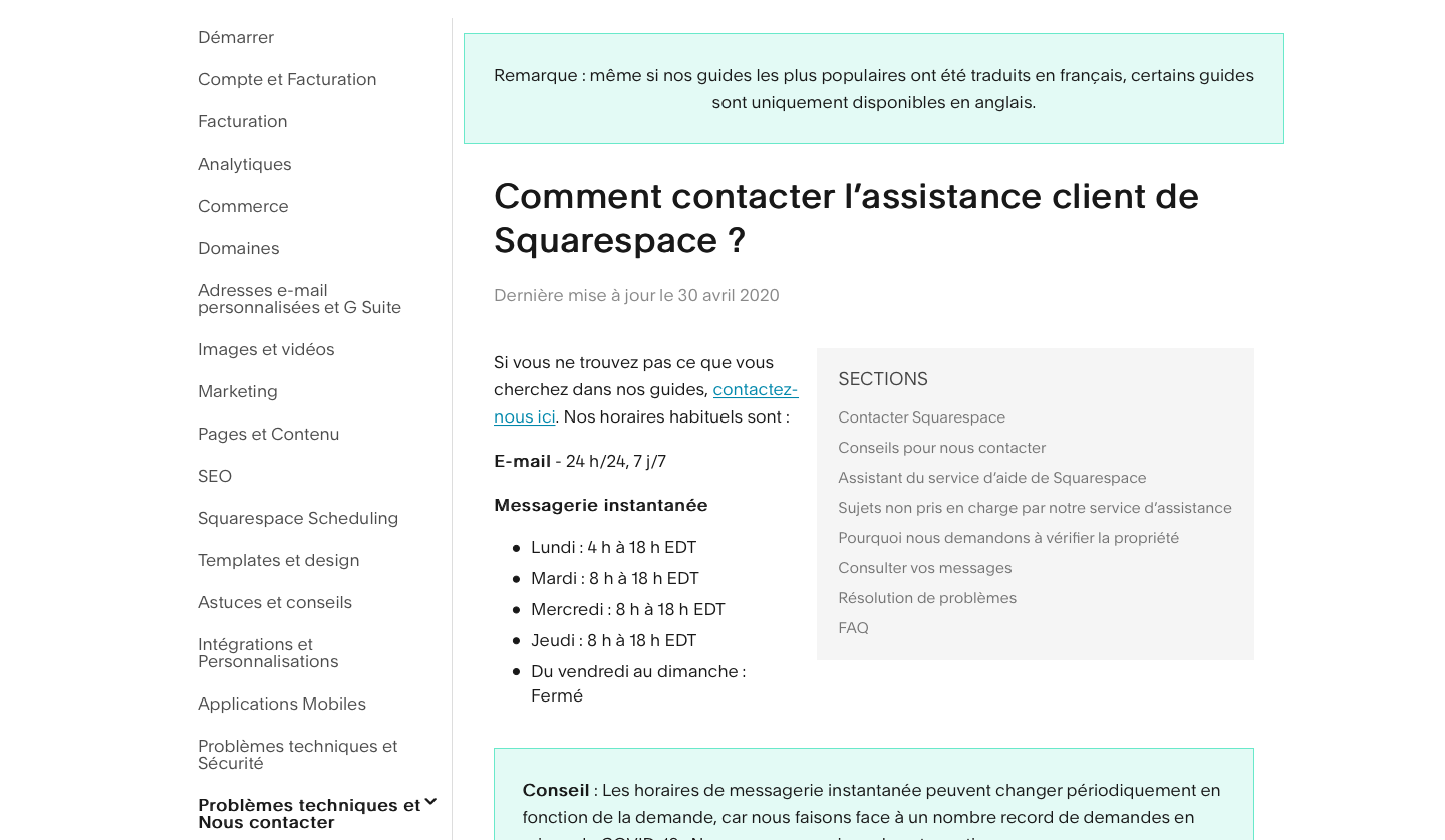 assistance squarespace