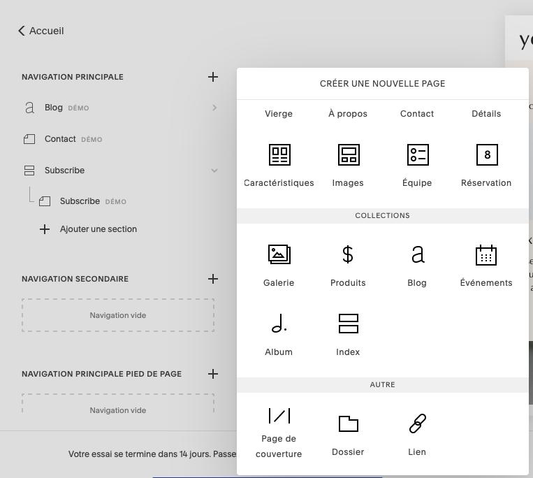 créer une nouvelle page squarespace