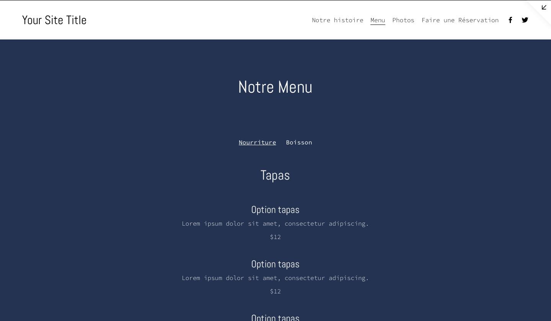 menu Squarespace