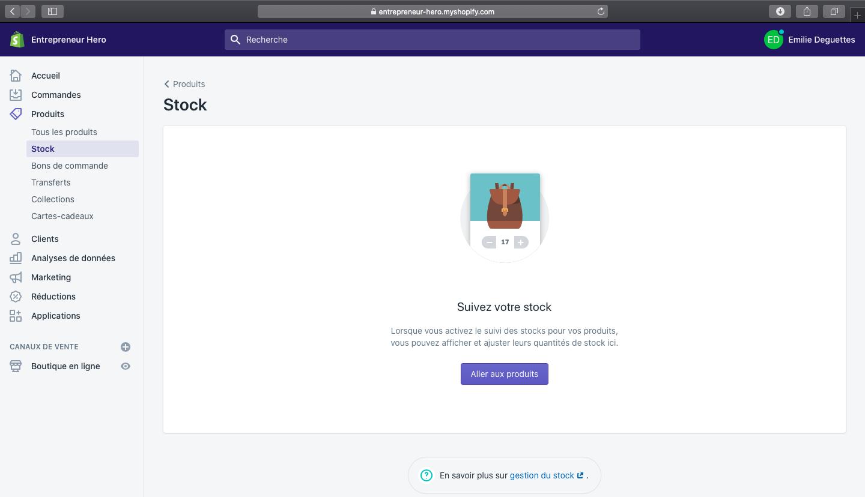 Stock Shopify