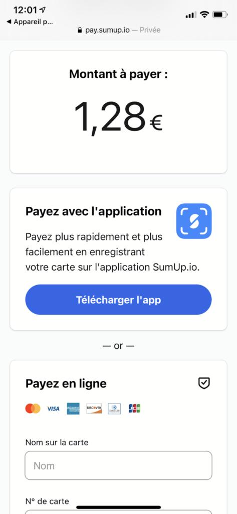 page de paiement QR code SumUp client